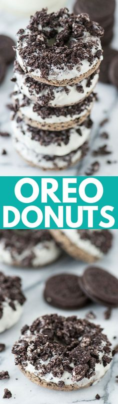 The BEST oreo donut! Oreos in the batter and crushed Oreos on top of the white chocolate - so delicious!