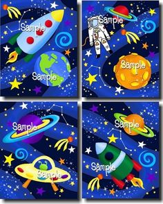 Set of 4 Blast Off Boys Bedroom Outerspace 8x10 Art by ToadAndLily, $20.00