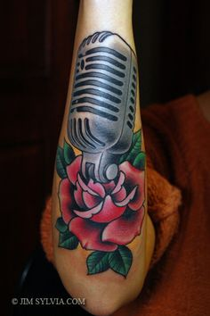 microphone tattoos designs | traditional old microphone rose tattoo
