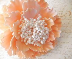 Peach Sugar Peony Wedding Cake Topper by SUGARonTOPsugarart