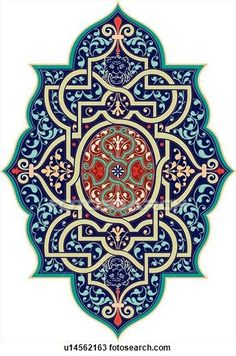 Clipart of Blue and green with red colored Design Ornament