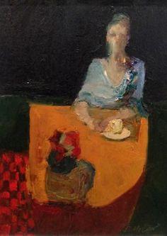 """Dan McCaw, """"Red Checks"""", Oil on Board, 10x9 - Anne Irwin Fine Art"""