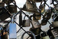 Candados del amor Puente sobre el Sena