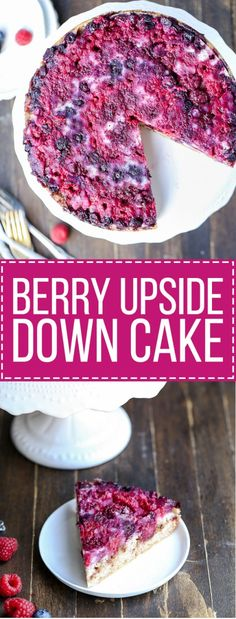 This Berry Upside Down Cake highlights the bright flavor of fresh berries and has a layer of cinnamon crumb swirl in the center!