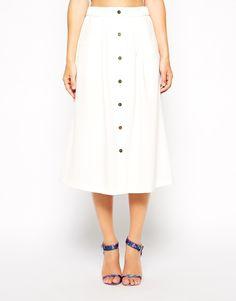 Image 4 ofASOS Midi Skirt With Button Detail