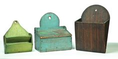 Nineteenth century, pine and poplar. One small pocket with two slots and old green paint, a lidded box in old blue, together with a larger pocket with faux rosewood graining, Green Paint, Primitive Decorating, Painted Boxes, Wall Boxes, Hanging, Old Wooden Boxes, Wall Pockets, Wall Cupboards, Old Wall