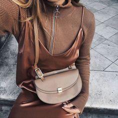 Dress: tumblr rust slip bag nude bag chloe chloe bag sweater camel silk slip zip sweater all nude