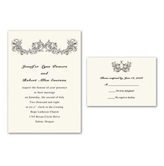 simple vintage ivory printable wedding invitations with free response cards EWI209 as low as $0.94