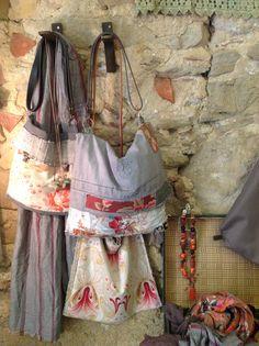 Bolsos telas vintage y tinte natural