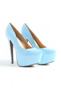 Gretta Super High Platform Patent Shoes - light blue pumps