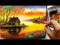 Hello Friends, In this painting I have choose to paint a riverside scenery with a beautiful house sitting in the calmness of the nature. Acrylic Painting For Beginners, Acrylic Painting Techniques, Beginner Painting, Acrylic Painting Canvas, Knife Painting, Art Techniques, Easy Landscape Paintings, Scenery Paintings, Landscape Drawings