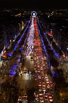 Christmas lights on the Champs Elysees, Paris-I've seen this in early January-beautiful!