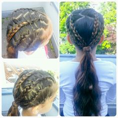 Lace frenchbraids into a ponytail
