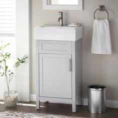 Small Bathroom Sinks, Small Sink, Bathroom Vanity Tops, Bathroom Ideas, Small Vanity Sink, White Bathroom, Basement Bathroom, Downstairs Toilet, Restroom Ideas