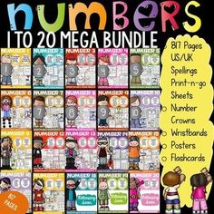 Help build number recognition, formation and number sense with this 817 page numbers 1 to 20 mega bundle. Print-n-go sheets, posters, flashcards, crowns, wristbands included. https://www.teacherspayteachers.com/Product/NUMBERS-NUMBER-SENSE-2356514