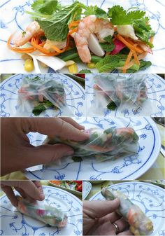 LeesVoer collage how to vietnamese salade loempias Box Lunches, Bento Box Lunch, Fresh Rolls, Summer Recipes, Good Food, Gluten, Collage, Snacks, Ethnic Recipes