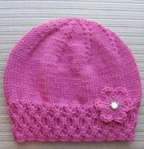 Knitted beanie with Flower Knitted Hat with Flower, Free knitting pattern. Hat is knit and flower is crochet. Crochet Kids Hats, Baby Hats Knitting, Knitting For Kids, Baby Knitting Patterns, Knitting Stitches, Baby Patterns, Free Knitting, Crochet Baby, Crochet Patterns