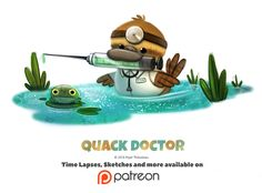 Day Quack Doctor by Cryptid-Creations on DeviantArt Cute Animal Drawings, Kawaii Drawings, Cute Drawings, Animal Puns, Animal Food, Cute Puns, Cute Disney Wallpaper, Cute Creatures, Whimsical Art