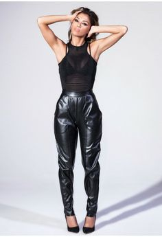 Faux Leather Tailored Trousers - Nicole x Missguided - Trousers - Missguided