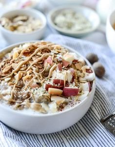 Slow Cooker Apple Cinnamon Steel Cut Oatmeal with Whipped Maple Cream | How Sweet It Is