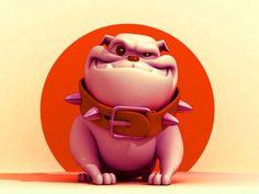 Untitled by Marco Bonandin Bulldog Cartoon, Bulldog Mascot, Cartoon Dog, Cartoon Drawings, Animal Drawings, Funny Bulldog Pictures, Mini English Bulldogs, Dog Comics, Creature Design