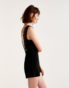 Jumpsuit with lace-trimmed back - Dungarees & Jumpsuits - Clothing - Woman - PULL&BEAR Hungary