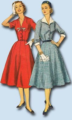 1950s Vintage Simplicity Sewing Pattern 1427 Misses Shirtwaist Dress Size 33 B #Simplicity #1950sDressPattern