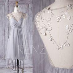 2016 Light Gray Bridesmaid Dress Short, Mesh V Neck Wedding Dress, Silver Flower Prom Dress, A Line Formal Dress Tea Length (S151)