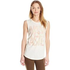 Lucky Brand Women's Namaste T-Shirt ($9.30) ❤ liked on Polyvore featuring tops, t-shirts, knit tee, sleeveless t shirt, knit top, white graphic t shirt and white graphic tees