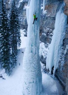 the Fang, Frozen Waterfall, Vail, Colorado. An some one is climbing it????