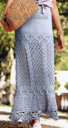 Длинная вязаная юбка спицами