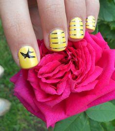 Striping tape and yellow nail polish with Bourjois ! Yellow Nail Polish, Yellow Nails, Les Nails, Striping Tape, Striped Nails, Nail Art, Bourjois, Stripes, Yellow Nail