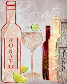 Main Line Art & Design - Rosato - Jill Meyer Line Art Design, Wines, Bottle, Rose, Artwork, Tea Cups, Wine Bottles, Tea Pots, Drinks