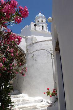 Ktikados church, tinos Santorini House, Santorini Greece, Mykonos, Tinos Greece, Cradle Of Civilization, Greece Islands, Bougainvillea, Paros, Vacation Rentals
