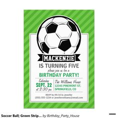 Shop Soccer Ball on Neon Pink Stripes Invitation created by Birthday_Party_House. Soccer Party, Soccer Ball, Invitation Paper, Custom Invitations, Soccer Inspiration, Football Birthday, Football Design, Birthday Invitations Kids, Party Invitations