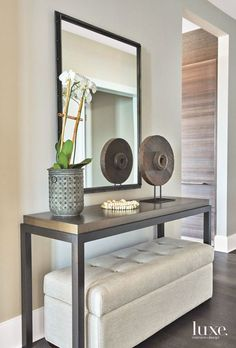 Functional Entryway in Contemporary Chicago Apartment. Home design ideas and int. Functional Entryway in Contemporary Chicago Apartment. Home design ideas and interior decorating inspiration. Decor, Foyer Furniture, Interior, Living Room Decor, Contemporary Decor, Home Decor, House Interior, Contemporary Home Decor, Home Interior Design