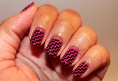 My #Nails I love #pink and #black #mani #manicure #nailart #naildesign #naturalnails #girly #nailstamping