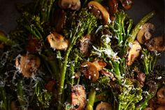 Roasted Broccolini with Winey Mushrooms  / Sang An