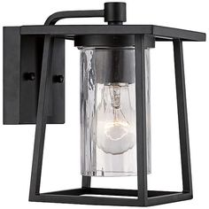 Hampton Bay Lumsden Outdoor Black Led Motion Sensor Wall Mount Lantern Home Depot Led And Outdoor