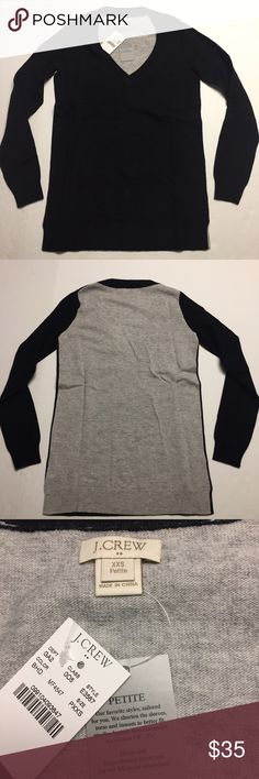"J.CREW Petite Colorblock V-Neck Sweater PXSS New with tags $84.50 J. Crew Factory Petite Colorblock Tunic Sweater. Body is Black in the front and Gray in the back.  Pictures are that of the actual item you will receive.  Size on tag: PXXS 	•	15"" from armpit to armpit 	•	24"" from collar to hem  Product Details 	•	Viscose/nylon/merino wool. 	•	Hits slightly below hip. 	•	Long sleeves. 	•	Machine wash. 	•	Online exclusive. 	•	Import. J. Crew Sweaters V-Necks"