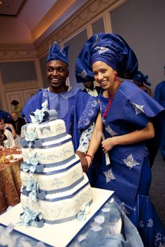 African wedding - royal blue aso oke clothing blue Nigerian bride groom gele