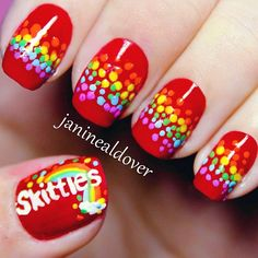 Skittles nail art. Makes me want to eat candies  - @janinealdover- #webstagram