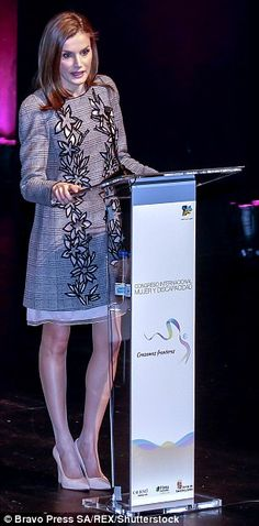 The Spanish royal commanded the stage as she addressed the conference in Avila...