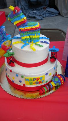 Fiesta Cake This cake was for a father and son birthday. Theme was mexican fiesta. 12th Birthday, Birthday Party Themes, Birthday Cake, Birthday Ideas, Mini Cakes, Cupcake Cakes, Mexican Themed Cakes, Fiesta Cake, Cake Central