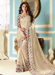 Cream Embroidered Crepe Saree With Blouse - The Fashion Attire - 2901527 Designer Sarees Collection, Latest Designer Sarees, Latest Sarees, Saree Collection, Saree Blouse, Sari, Crepe Saree, Party Wear Sarees, Fabric Design