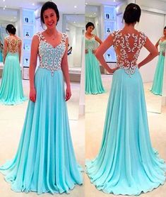 Blue Chiffon Long Prom Dresses,Sweetheart Neck Pageant Dresses,Embroidery