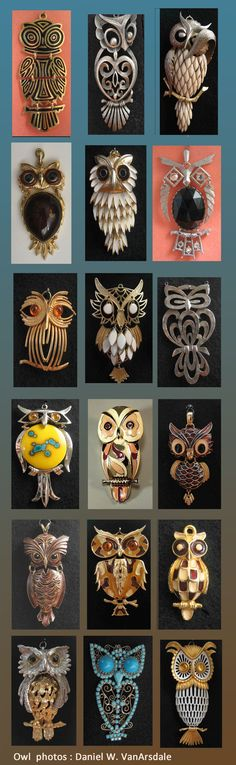 Owl Pendant Designers of  in Above Photo  Trifari, Tancer, Razza, Sao, Esienberg, Winard II, Gold Crown Inc, D'Orlan, Kramer