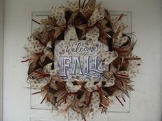 Only 45 Dollars...WHAT?  Welcome Thanksgiving Fall Autumn Deco Mesh Door Wreath, Wall, Gift, Get Together, Party, Peanuts by JandJPrettyThings on Etsy