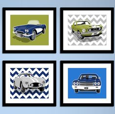 Childrens art - 1970 Chevy Chevell SS - wall art - Vintage sports cars - boys art prints - nursery art - pick your colors