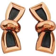 Renoir Copper Modernist Bow Design Clip Earrings. Vintage Costume Jewelry under $25 at Ruby Lane www.rubylane.com   @rubylanecom